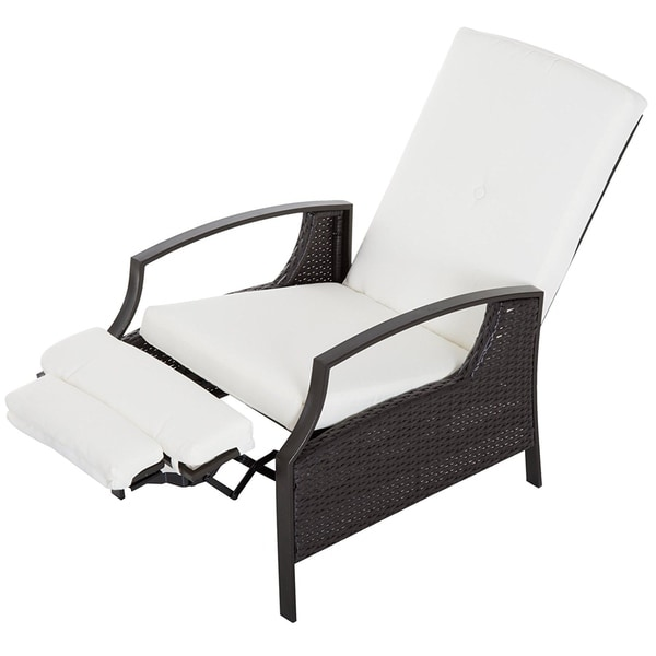 Outsunny Brown/White Outdoor Rattan Wicker Recliner Chair  sc 1 st  Overstock.com & Shop Outsunny Brown/White Outdoor Rattan Wicker Recliner Chair - On ...