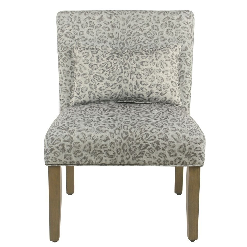 Porch & Den Alvord Grey Cheetah Accent Chair with pillow (Grey)
