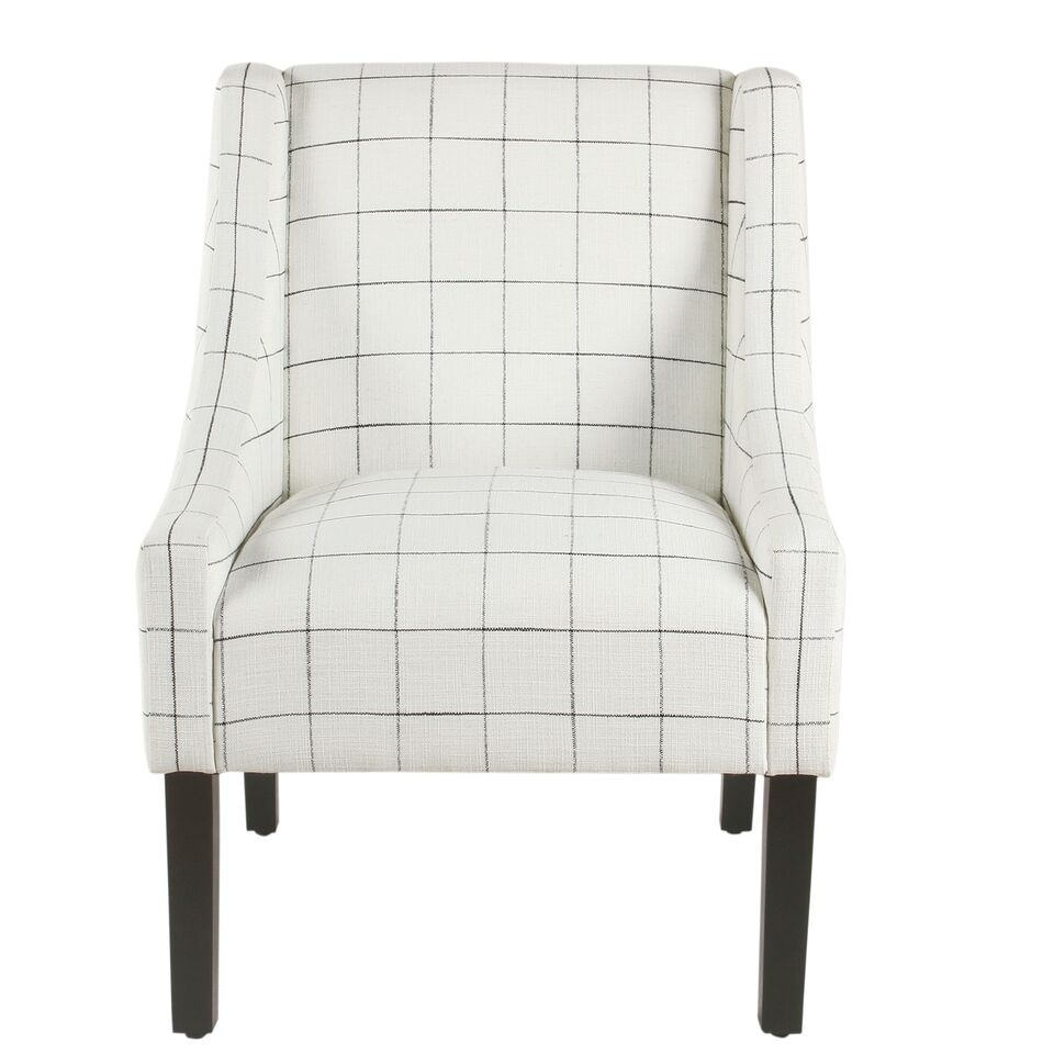 Fine Homepop Modern Swoop Arm Accent Chair White Windowpane Machost Co Dining Chair Design Ideas Machostcouk