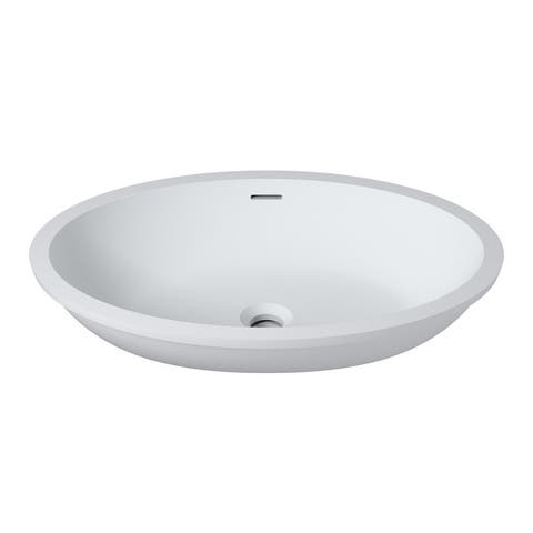 "23""x16""Polystone Undermount/Overmount Oval Sink in Glossy or Matte White Finish-No Faucet"
