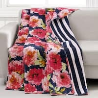 Barefoot Bungalow Peony Posy Quilted Throw, Navy