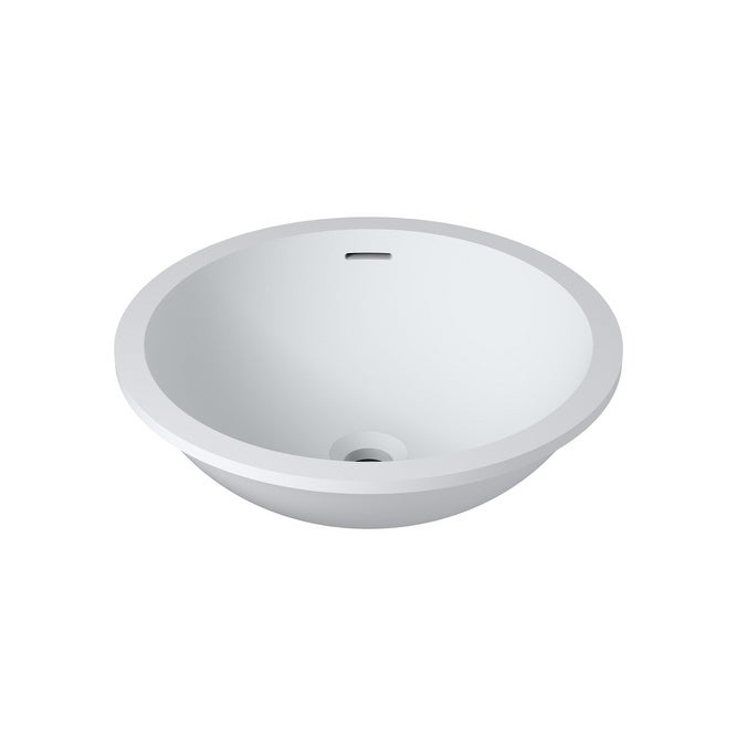 20x16Polystone Undermount/Overmount Round Sink in Glossy or Matte White Finish-No Faucet (ws-so-v101-g - Glossy)
