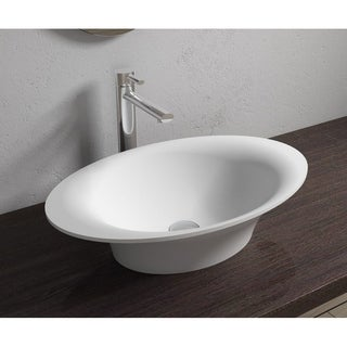 """23""""x14""""Polystone Oval Vessel Bathroom Sink in Glossy or Matte White Finish-No Faucet"""