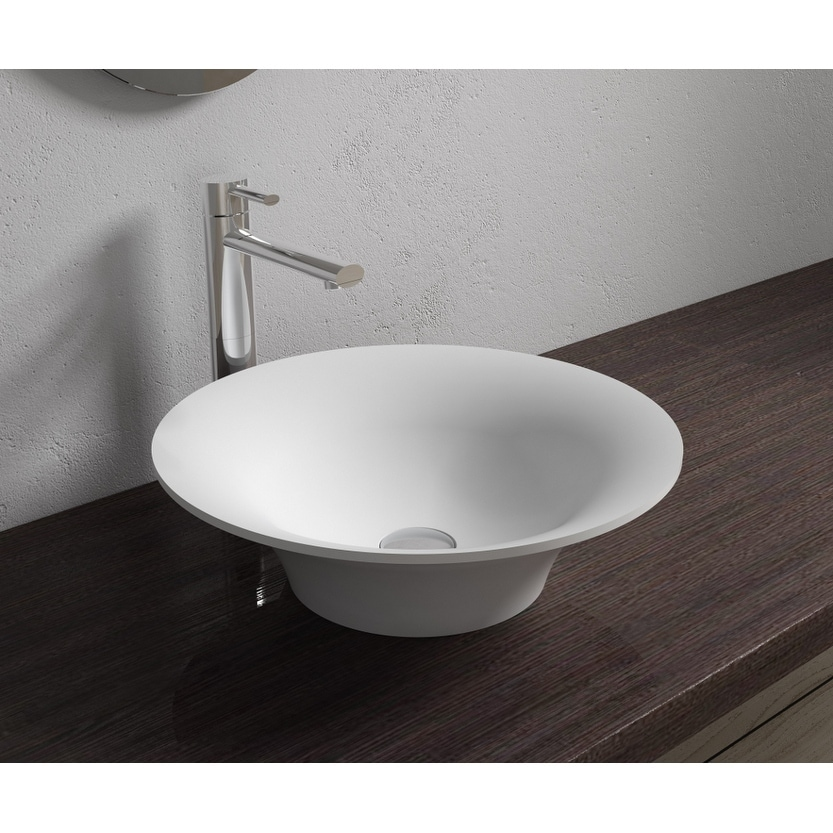 17x17Polystone Round Vessel Bathroom Sink in Glossy or Matte White Finish-No Faucet (ws-vs-v32-m - Matte)