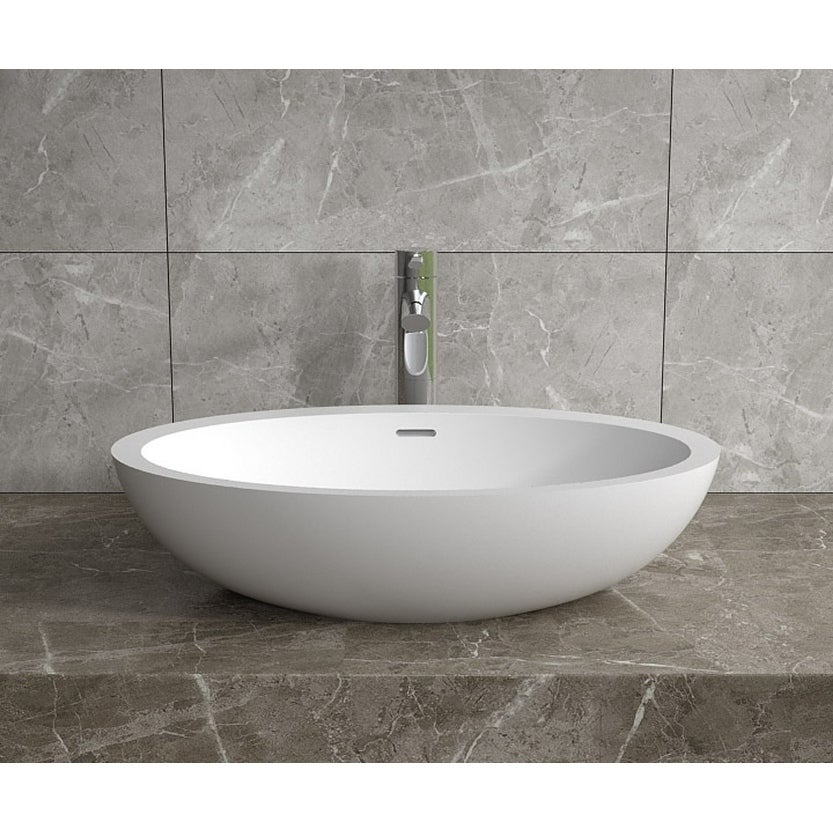 24x14Polystone Oval Vessel Bathroom Sink in Glossy or Matte White Finish-No Faucet (ws-vs-v104-g - Glossy)
