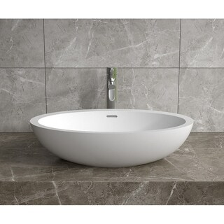 """24x14""""Polystone Oval Vessel Bathroom Sink in Glossy or Matte White Finish-No Faucet"""