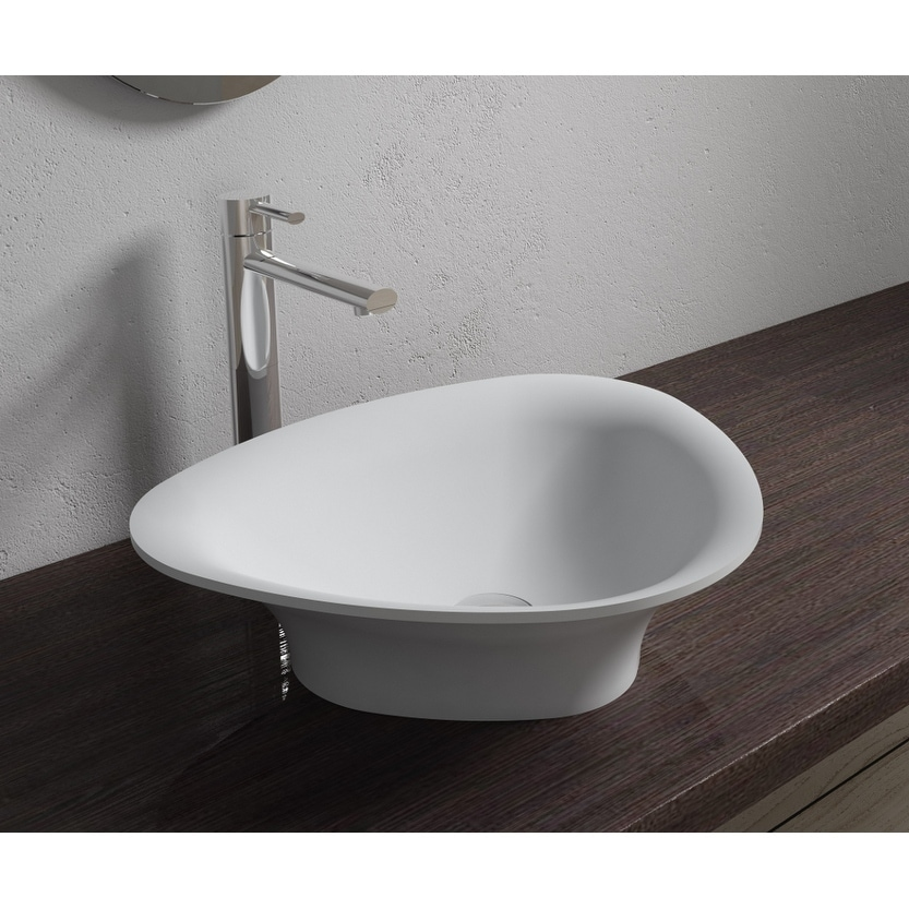 20x16Polystone Trigon Vessel Bathroom Sink in Glossy or Matte White Finish-No Faucet (ws-vs-v34-g - Glossy)