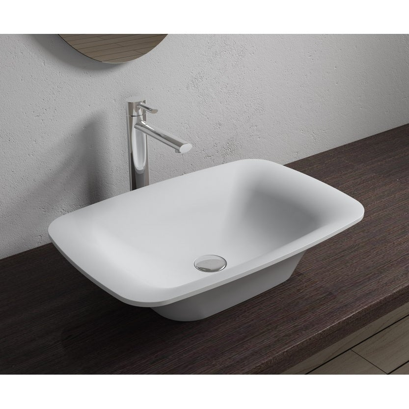 24x14Polystone Rectangular Vessel Bathroom Sink in Glossy or Matte White Finish-No Faucet (ws-vs-v36-m - Matte)