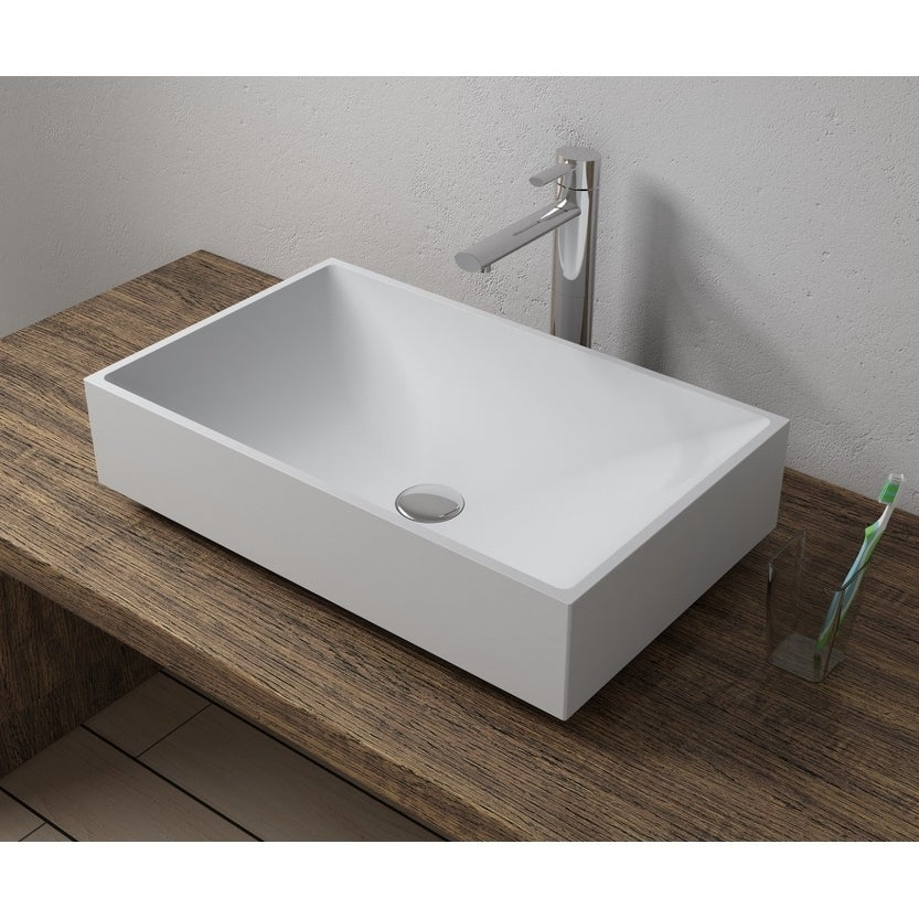 22x14Polystone Rectangular Vessel Bathroom Sink in Glossy or Matte White Finish-No Faucet (ws-vs-v42-m - Matte)