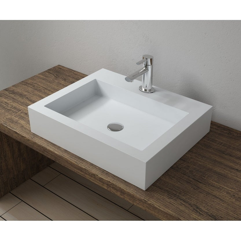 23x18Polystone Rectangular Vessel Bathroom Sink in Glossy or Matte White Finish-No Faucet (ws-vs-v74-m - Matte)