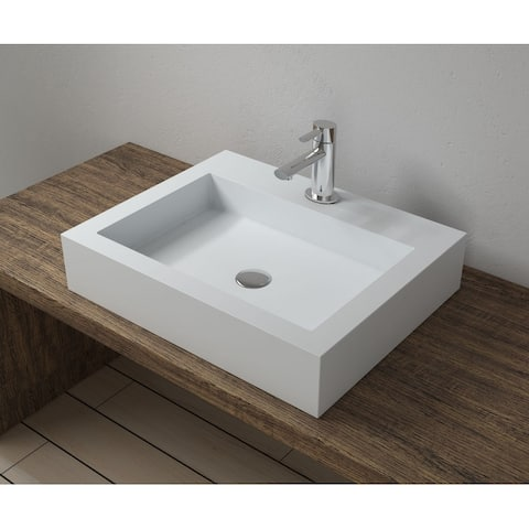 "23""x18""Polystone Rectangular Vessel Bathroom Sink in Glossy or Matte White Finish-No Faucet"