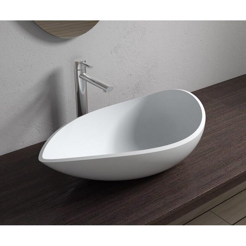 24x14Polystone Tear Drop Vessel Bathroom Sink in Glossy or Matte White Finish-No Faucet (ws-vs-v20-m - Matte)
