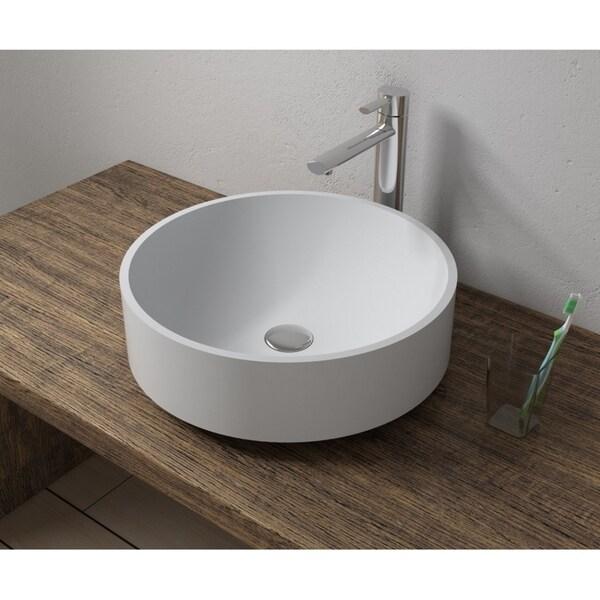 Shop 17 X17 Polystone Round Vessel Bathroom Sink In Glossy