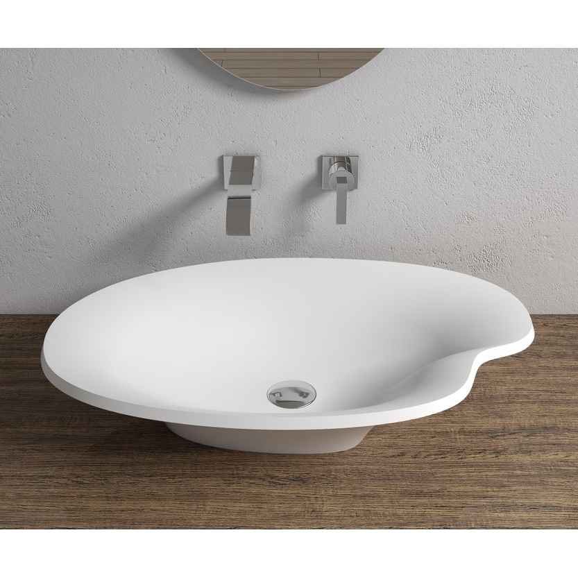 25x15Polystone Pond Vessel Bathroom Sink in Glossy or Matte White Finish-No Faucet (ws-vs-v45n-g - Glossy)