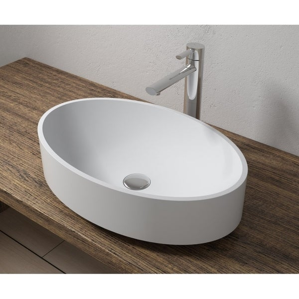 """22""""x14""""Polystone Oval Vessel Bathroom Sink in Glossy or Matte White Finish-No Faucet"""