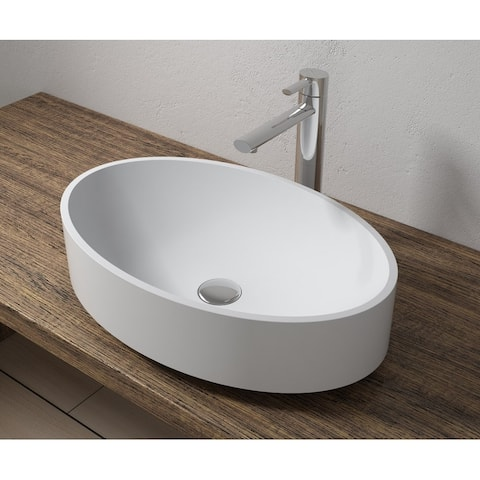 "22""x14""Polystone Oval Vessel Bathroom Sink in Glossy or Matte White Finish-No Faucet"