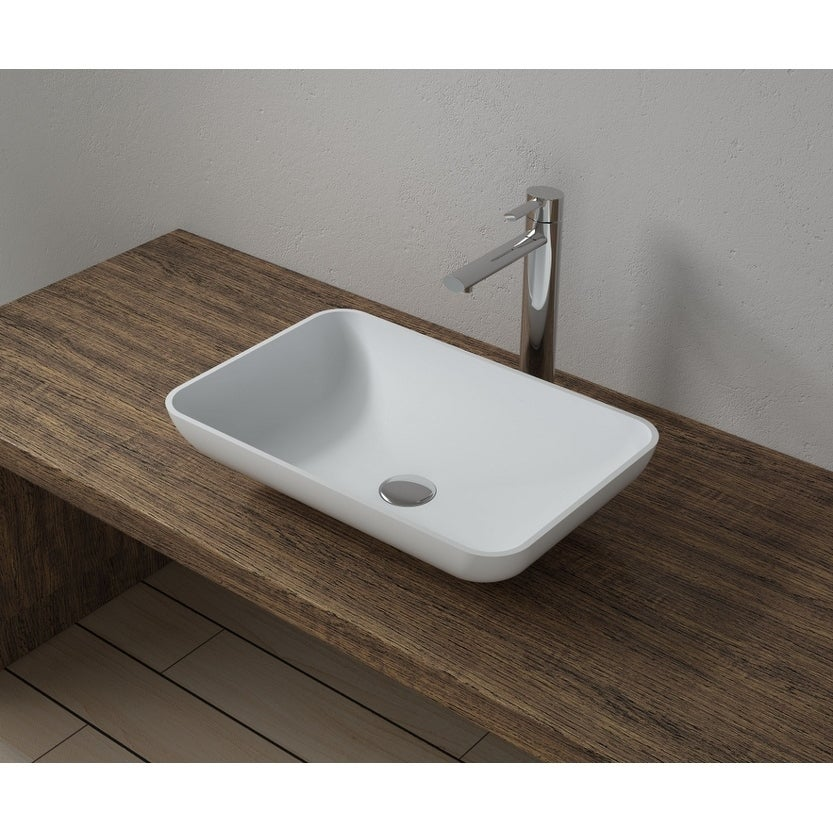 20x13Polystone Rectangular Vessel Bathroom Sink in Glossy or Matte White Finish-No Faucet (ws-vs-vp4-m - Matte)