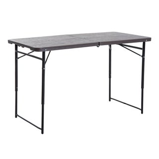 Outsunny 4' Folding Plastic Camping Picnic Table - Brown Wood Grain Top