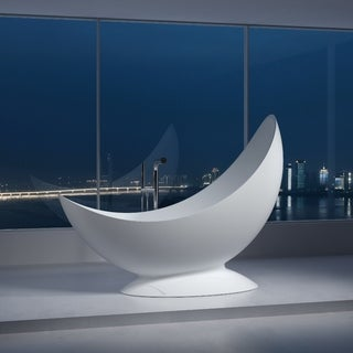 "78""Polystone Half Moon Free Standing Bathtub in Glossy or Matte White Finish-No Faucet - N/A"
