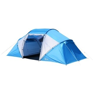 Outsunny 15' x 7.5' Lightweight 4-6 Person Portable Outdoor Camping Tent with Carry Bag - Blue