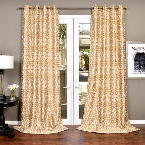 Lambrequin Gala Crushed Faux Jacquard Lined Curtain Panel
