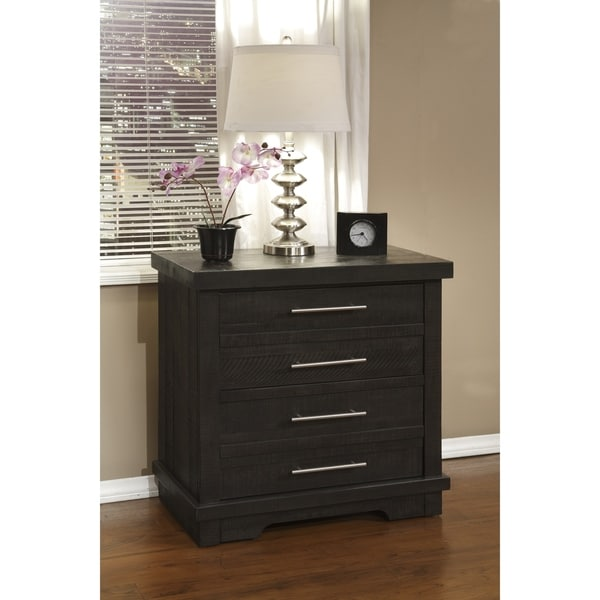Waterfront Solid Wood 2 Drawer Nightstand, Grey