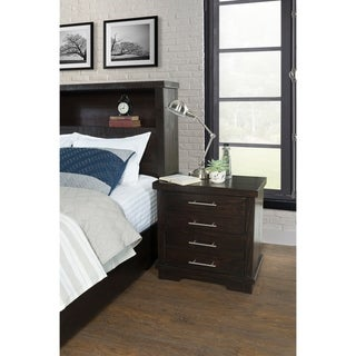 Waterfront Solid Wood 2 Drawer Nightstand, Espresso