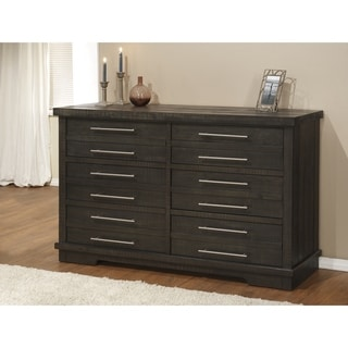 Waterfront Solid Wood 6 Drawer Dresser, Grey