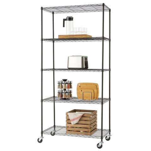 "TRINITY 5-Tier Wire Shelving Rack 36"" x 18"" x 76"" Includes Wheels NSF Black"