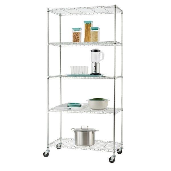 TRINITY EcoStorage™ 5 Tier Wire Shelving Rack