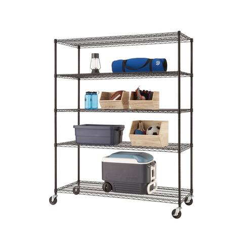 "TRINITY 5-Tier Wire Shelving Rack 60"" x 24"" x 77"" Includes Wheels NSF Black"