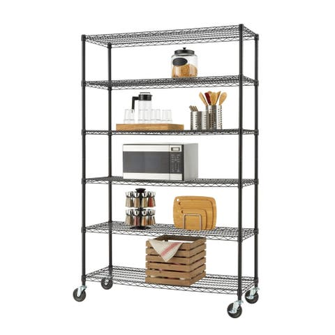 "TRINITY 6-Tier 48"" x 18"" x 72"" Wire Shelving Rack w/ Wheels, NSF Certified, Black"