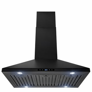 "AKDY 36"" Island Mount Black Stainless Steel Touch Panel Kitchen Range Hood Cooking Fan"