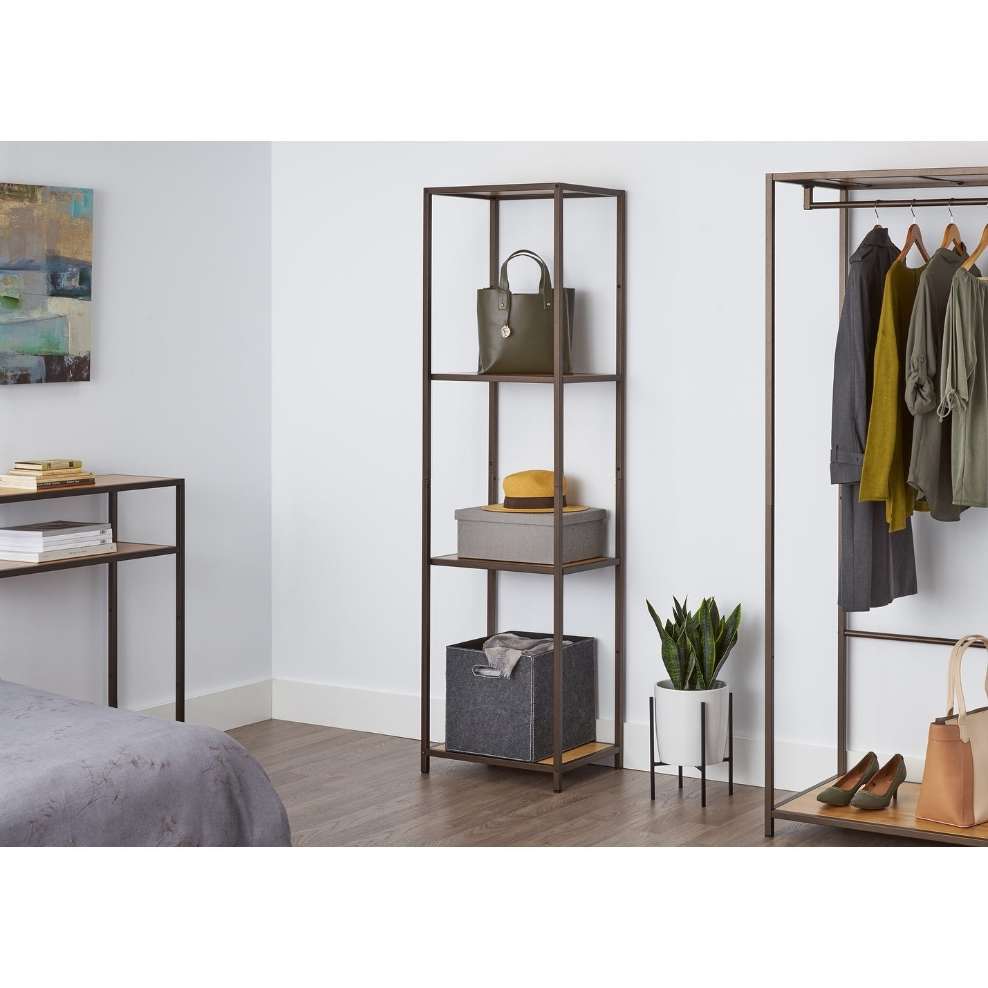 TRINITY 4-Tier Bamboo Shelving Tower - Bronze Anthracite (15 x 20 x 72 Bronze Anthracite)