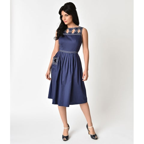 Unique Vintage Navy Blue Lakewood Dress
