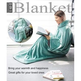 HONEYMOON HOME FASHIONS Fleece Flannel Wearable Blanket , Minty Green