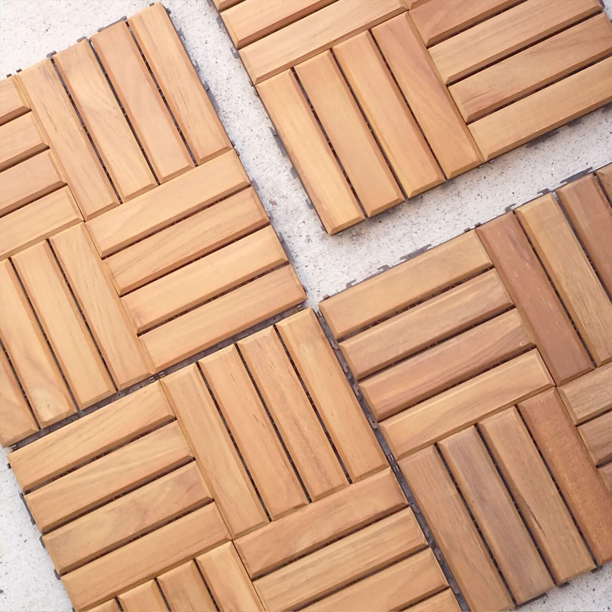 Cambridge Casual Teak Wood Interlocking Deck Tile Set (Pack of 10) (Brown - Teak)