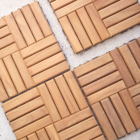 Cambridge Casual Teak Wood Interlocking Deck Tile Set (Pack of 10)