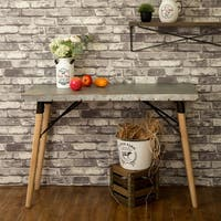 Glitzhome Grey Wood and Metal Farmhouse Galvanized Side Table