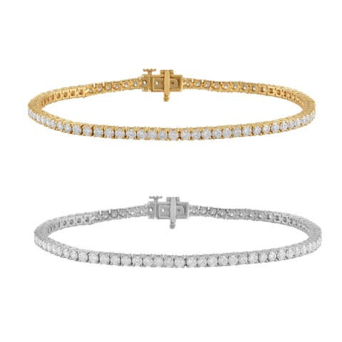 Divina 14KT White and Yellow Gold 2.00ct TDW Diamond Tennis Bracelet
