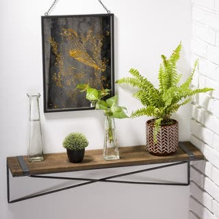 Glitzhome Farmhouse Rustic Metal Wooden Mounted Floating Wall Shelf