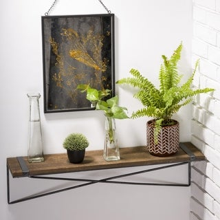 Glitzhome Metal Wooden Mounted Floating Wall Shelves Rustic Design