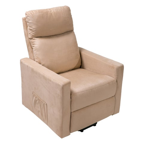 Merax Suede Fabric Power Lift Chair and Power Recliner Living Room Recliner with Heavy Duty Mechanism and Remote Control