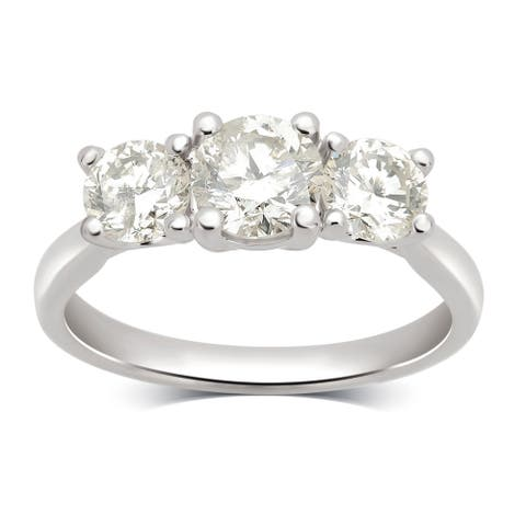 Divina 14KT White Gold 2.00ct TDW Diamond 3 Stone Engagement Ring
