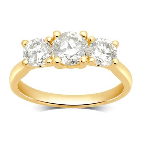 Divina 14KT Yellow Gold 2.00ct TDW Diamond 3 Stone Engagement Ring