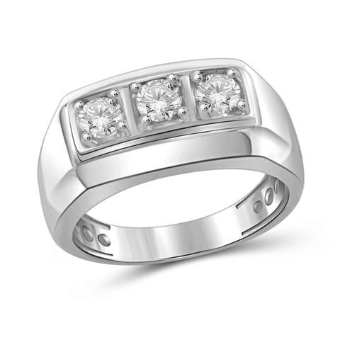 JewelonFire 0.25 Carat Genuine White Diamond 10K Gold Men's Ring