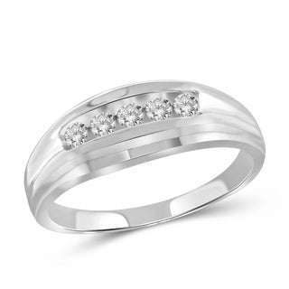 JewelonFire 0.33 Carat Genuine White Diamond 10K Gold Men's Ring