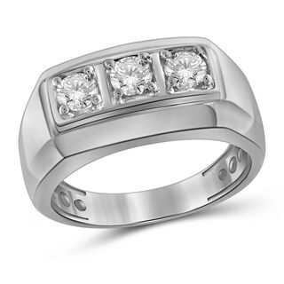 JewelonFire 1.00 Carat Genuine White Diamond 10K Gold Men's 3-stone Ring