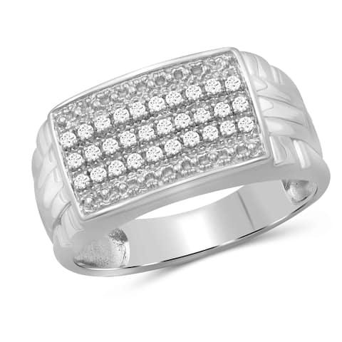 JewelonFire 0.20 Carat Genuine White Diamond 10K Gold Men's Ring
