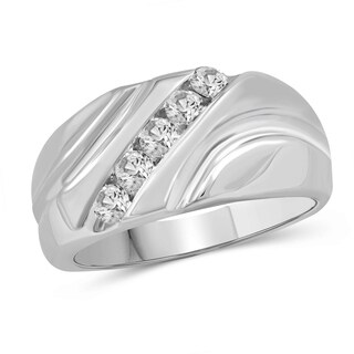 JewelonFire 0.50 Carat Genuine White Diamond 10K Gold Men's 5-stone Ring